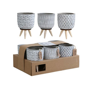 Cement Pot with Leg Assorted